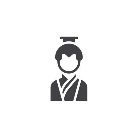 Asian man in traditional clothes vector icon. filled flat sign for mobile concept and web design. Chinese man simple solid icon. Symbol, logo illustration. Pixel perfect vector graphics Illustration
