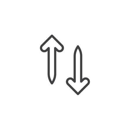 Up and down arrows line icon. linear style sign for mobile concept and web design. Transfer arrows outline vector icon. Symbol, logo illustration. Pixel perfect vector graphics Иллюстрация
