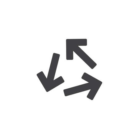 Transfer arrows vector icon. filled flat sign for mobile concept and web design. Three direction arrows simple solid icon. Symbol, logo illustration. Pixel perfect vector graphics