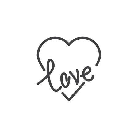 Love heart line icon. linear style sign for mobile concept and web design. Heart and Love lettering outline vector icon. Valentine day symbol, logo illustration. Pixel perfect vector graphics  イラスト・ベクター素材