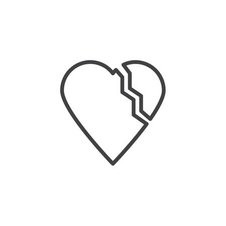 Break up Love line icon. linear style sign for mobile concept and web design. Broken heart outline vector icon. Valentines day symbol, logo illustration. Pixel perfect vector graphics