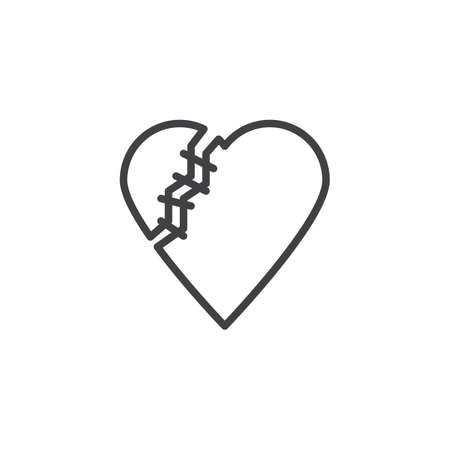 Healed broken heart line icon. linear style sign for mobile concept and web design. Heart with threaded stitches outline vector icon. Symbol, logo illustration. Pixel perfect vector graphics