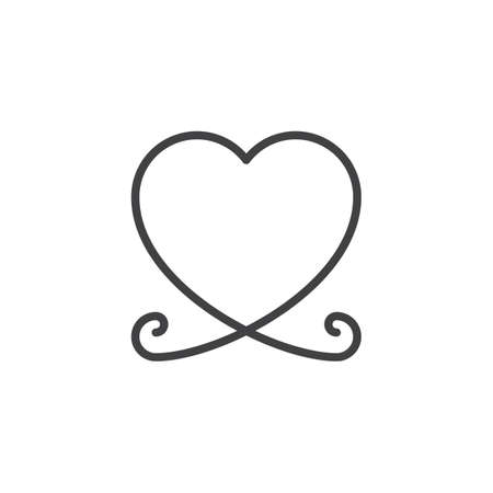 Heart shape line icon. linear style sign for mobile concept and web design. Abstract heart outline vector icon. Symbol, logo illustration. Pixel perfect vector graphics