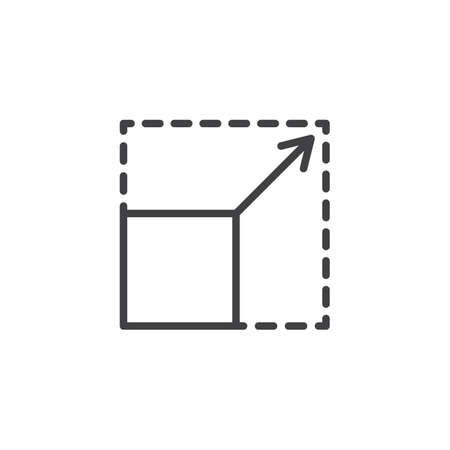 Scalability line icon. linear style sign for mobile concept and web design. Square with corners and arrow outline vector icon. Symbol, logo illustration. Pixel perfect vector graphics 向量圖像