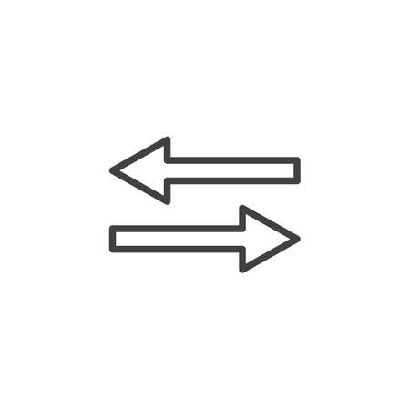 Left and right arrows line icon. linear style sign for mobile concept and web design. 2 side arrow outline vector icon. Transfer arrows symbol, logo illustration. Pixel perfect vector graphics