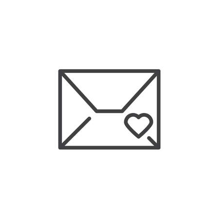 Envelope with romantic message greeting heart line icon. linear style sign for mobile concept and web design. Love letter outline vector icon. Symbol, logo illustration. Pixel perfect vector graphics