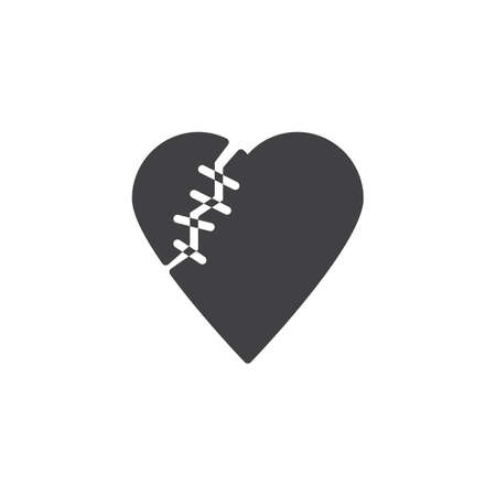 Healed broken heart vector icon. filled flat sign for mobile concept and web design. Heart with threaded stitches simple solid icon. Symbol, logo illustration. Pixel perfect vector graphics Ilustração