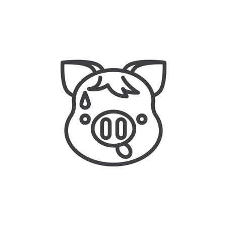 Anxious Piggy Face With Sweat Emoji line icon. linear style sign for mobile concept and web design. Worried piggy face emoticon outline vector icon. New year Pig head symbol, logo illustration.