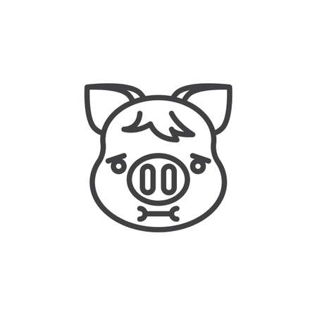 Piggy Nauseated Face Emoji line icon. linear style sign for mobile concept and web design. Nauseated piggy face emoticon outline vector icon. New year Pig head symbol, logo illustration. Pixel perfect