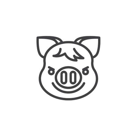 Piggy Face With Wry Smile emoji line icon. linear style sign for mobile concept and web design. Piggy smirking face emoticon outline vector icon. New year Pig head symbol, logo illustration. Pixel