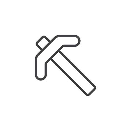 Pick axe line icon. linear style sign for mobile concept and web design. Mining pick ax outline vector icon. Symbol, logo illustration. Pixel perfect vector graphics Illusztráció