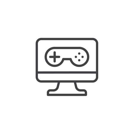 PC video game controller line icon. linear style sign for mobile concept and web design. Gaming joystick and computer monitor outline vector icon. Symbol, logo illustration. Pixel perfect vector