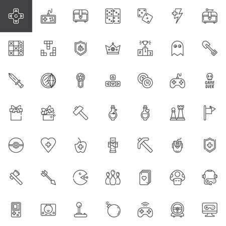 Gaming elements line icons set. linear style symbols collection, outline signs pack. vector graphics. Set includes icons as Video game console controller, joystick, gamepad, computer monitor, keypad 일러스트