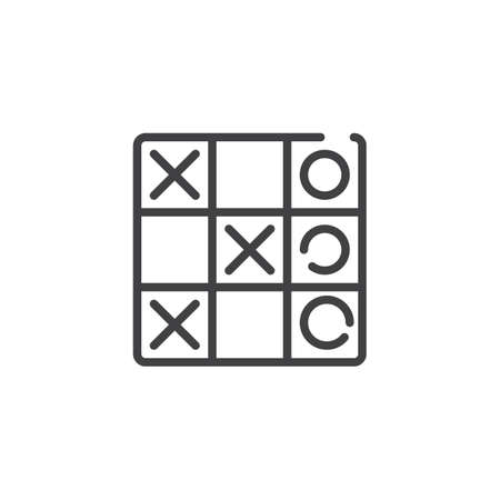 Tic tac toe game line icon. linear style sign for mobile concept and web design. Criss cross game outline vector icon. XOXO symbol, logo illustration. Pixel perfect vector graphics Stok Fotoğraf - 115504736