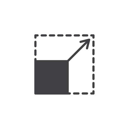 Scalability vector icon. filled flat sign for mobile concept and web design. Square with corners and arrow simple solid icon. Symbol, logo illustration. Pixel perfect vector graphics 向量圖像