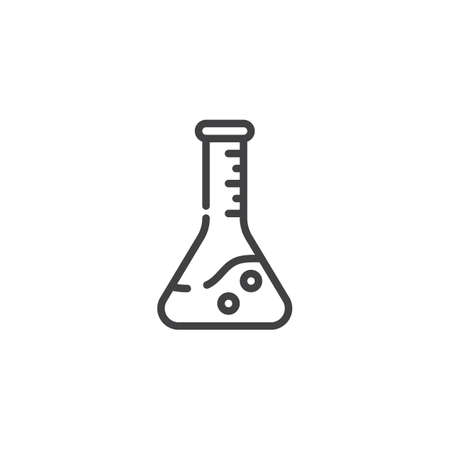 Laboratory glass line icon. linear style sign for mobile concept and web design. Chemical flask outline vector icon. Symbol, logo illustration. Pixel perfect vector graphics Foto de archivo - 115504775