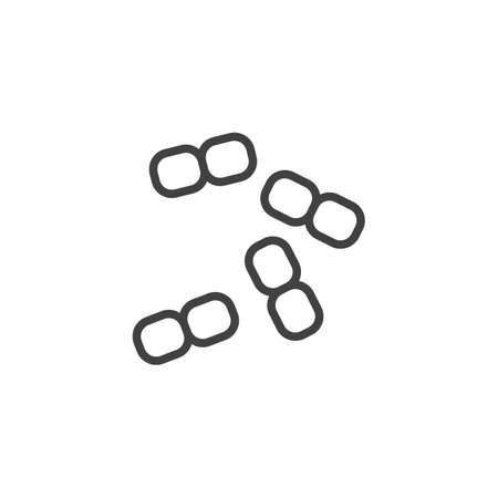 Bacillus cocci bacteria line icon. linear style sign for mobile concept and web design. Cocci bacteria virus outline vector icon. Symbol, logo illustration. Pixel perfect vector graphics Illustration