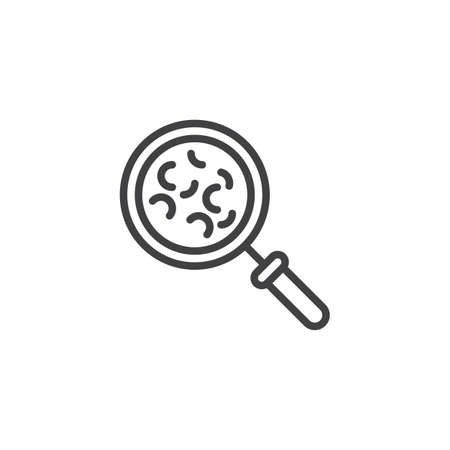 Bacterial microorganism research line icon. linear style sign for mobile concept and web design. Magnifying glass with bacteria outline vector icon. Symbol, logo illustration. Pixel perfect vector