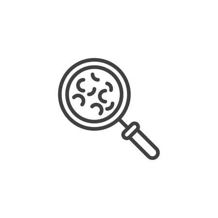 Icono de línea de investigación de microorganismos bacterianos. signo de estilo lineal para concepto móvil y diseño web. Lupa con icono de vector de contorno de bacterias. Símbolo, ilustración de logotipo. Pixel perfecto vector Logos