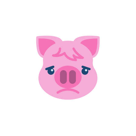 Slightly Frowning Piggy Face Emoji flat icon, vector sign, colorful pictogram isolated on white. Pink pig head emoticon, new year symbol, logo illustration. Flat style design 向量圖像