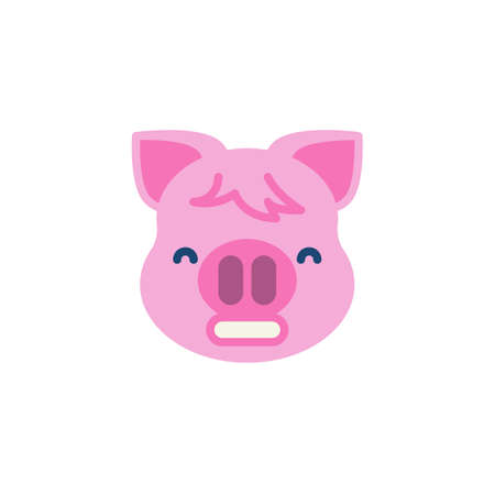 Grimacing Piggy Face Emoji flat icon, vector sign, colorful pictogram isolated on white. Pink pig head emoticon, new year symbol, logo illustration. Flat style design