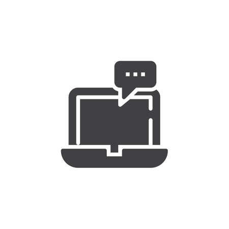 Laptop with speech bubble vector icon. filled flat sign for mobile concept and web design. Computer chat message simple solid icon. Symbol, logo illustration. Pixel perfect vector graphics 矢量图像