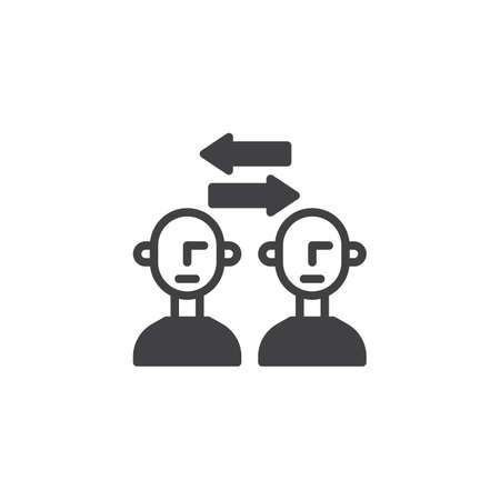 Transfer people vector icon. filled flat sign for mobile concept and web design. Men exchanging arrows simple solid icon. Symbol, logo illustration. Pixel perfect vector graphics Logo
