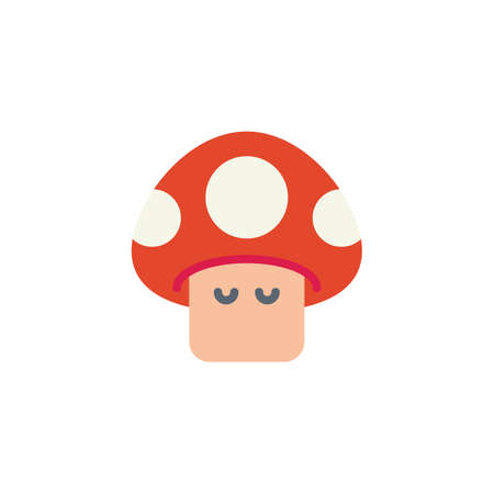 Arcade game mushroom flat icon, vector sign, colorful pictogram isolated on white. Red mushroom symbol, logo illustration. Flat style design