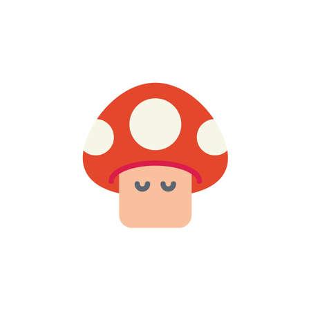 Arcade spel paddestoel platte pictogram, vector teken, kleurrijke pictogram geïsoleerd op wit. Rode paddestoel symbool, logo afbeelding. Ontwerp in vlakke stijl Logo