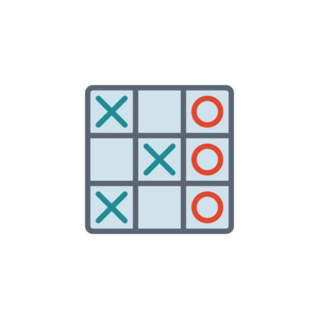 Tic tac toe game flat icon, vector sign, colorful pictogram isolated on white. xoxo symbol, logo illustration. Flat style design Çizim