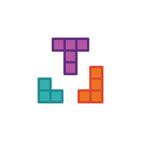 Tetris game flat icon, vector sign, colorful pictogram isolated on white. Puzzle bricks game symbol, logo illustration. Flat style design