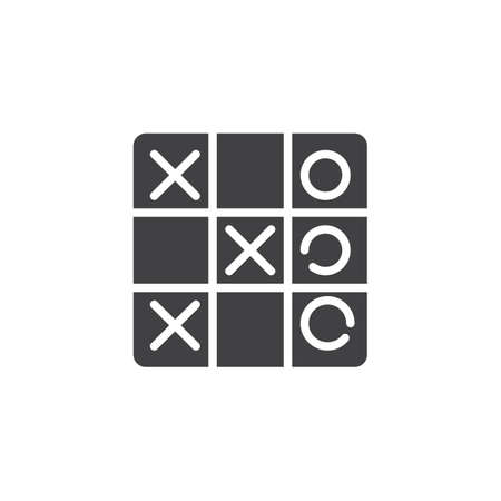 Tic tac toe game vector icon. filled flat sign for mobile concept and web design. Criss cross game simple solid icon. Symbol, logo illustration. Pixel perfect vector graphics Çizim