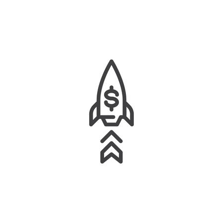 Startup rocket line icon. linear style sign for mobile concept and web design. Project Launch outline vector icon. Symbol, logo illustration. Pixel perfect vector graphics