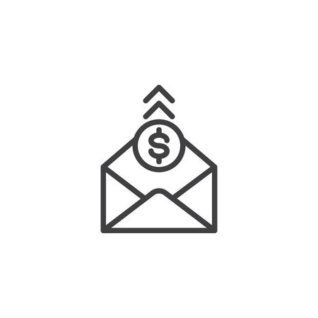 Envelope mail with dollar line icon. linear style sign for mobile concept and web design. Envelope with Money outline vector icon. Symbol, logo illustration. Pixel perfect vector graphics