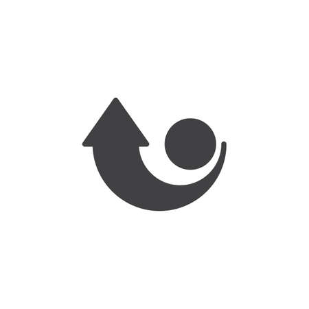 Arrow rotation direction vector icon. filled flat sign for mobile concept and web design. Arrow around circle simple solid icon. Turn the knob clockwise symbol, logo illustration