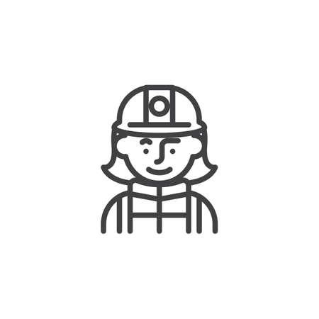 Icono de línea de personaje de avatar de bombero de mujer. signo de estilo lineal para concepto móvil y diseño web. Bombero en icono de vector de contorno de casco. Símbolo, ilustración de logotipo. Gráficos vectoriales perfectos para píxeles