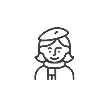 Woman artist avatar character line icon. linear style sign for mobile concept and web design. Female painter artist outline vector icon. Symbol, logo illustration. Pixel perfect vector graphics Vectores
