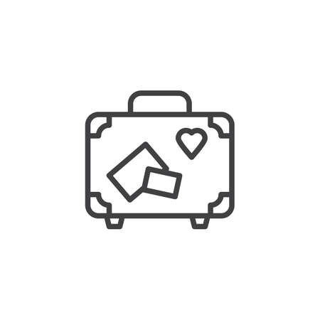 Icône de ligne de valise de voyage. signe de style linéaire pour le concept mobile et la conception Web. Valise avec l'icône de vecteur de contour d'autocollants de voyage. Symbole de lune de miel, illustration du logo. Pixel graphiques vectoriels parfaits
