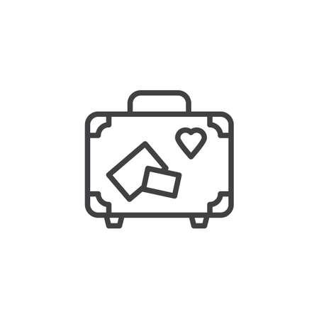 Icono de línea de maleta de viaje. signo de estilo lineal para concepto móvil y diseño web. Maleta con icono de vector de contorno de pegatinas de viaje. Símbolo de luna de miel, Ilustración del logo. Gráficos vectoriales perfectos para píxeles