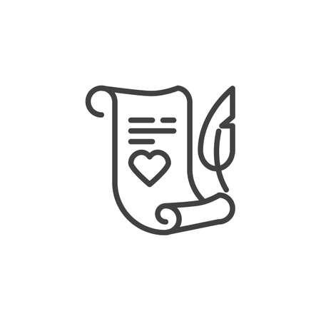 Carta de amor con el icono de la línea del corazón. signo de estilo lineal para concepto móvil y diseño web. Desplazamiento de papel con icono de vector de contorno de pluma de pluma. Símbolo, ilustración de logotipo. Gráficos vectoriales perfectos para píxeles Logos