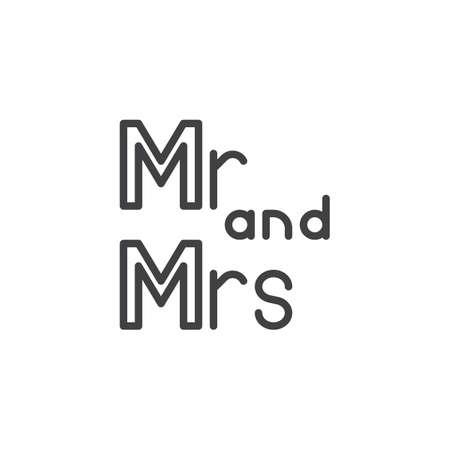 씨와 부인 레터링 라인 아이콘입니다. 모바일 개념 및 웹 디자인을 위한 선형 스타일 기호입니다. Mr and Mrs 결혼식은 레터링 개요 벡터 아이콘을 작성했습니다. 기호, 로고 그림입니다. 픽셀 완벽한 벡터 그래픽