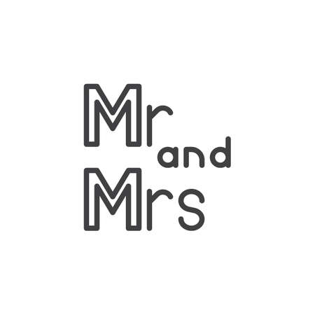 mr and mrs lettering line icon. linear style sign for mobile concept and web design. Mr and Mrs wedding written lettering outline vector icon. Symbol, logo illustration. Pixel perfect vector graphics Ilustração