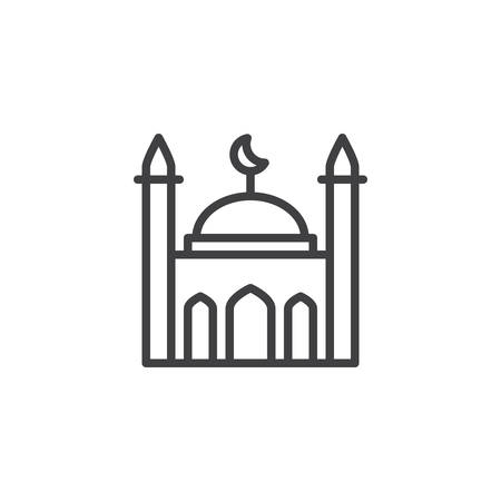 Islamic mosque line icon. linear style sign for mobile concept and web design. Mosque building with crescent outline vector icon. Symbol, logo illustration. Pixel perfect vector graphics