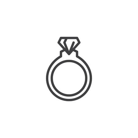 Diamond ring line icon. linear style sign for mobile concept and web design. Wedding ring jewellery outline vector icon. Symbol, logo illustration. Pixel perfect vector graphics