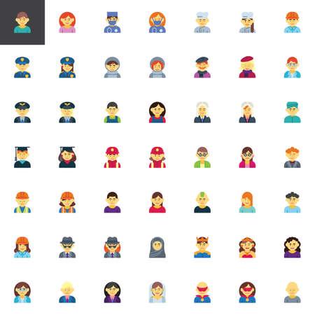 Colección de elementos de avatar de profesiones de personas, conjunto de iconos planos, paquete de símbolos coloridos que contiene: trabajador médico hombre, cocinera, oficial de policía, artista, astronauta. Ilustración vectorial. Diseño de estilo plano Ilustración de vector