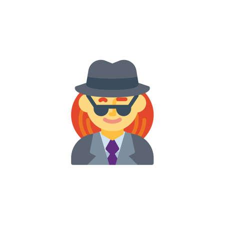 Woman spy agent flat icon, vector sign, colorful pictogram isolated on white. Woman detective avatar character symbol, logo illustration. Flat style design