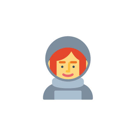 Spacewoman in space suit flat icon, vector sign, colorful pictogram isolated on white. Woman astronaut avatar character symbol, logo illustration. Flat style design