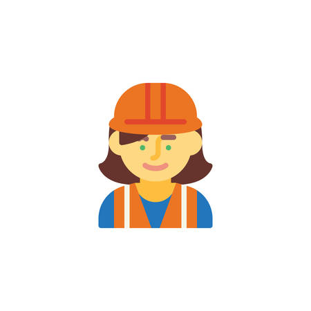 Woman wearing hard hat flat icon, vector sign, colorful pictogram isolated on white. Woman construction worker symbol, logo illustration. Flat style design Logo