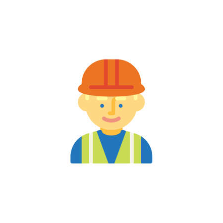 Man wearing hard hat flat icon, vector sign, colorful pictogram isolated on white. Man construction worker symbol, logo illustration. Flat style design