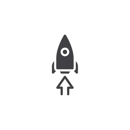 Startup rocket vector icon. filled flat sign for mobile concept and web design. Rocket and arrow up simple solid icon. Symbol, logo illustration. Pixel perfect vector graphics